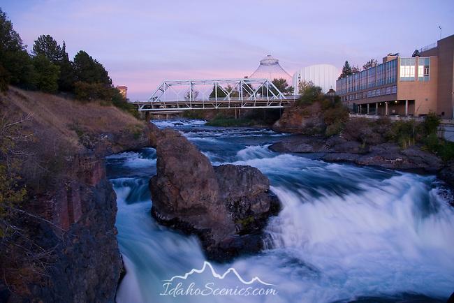 Washington, Spokane, Riverfront Park. The Spokane River splits around a rocky outcrop as it descends through Riverfront Park.