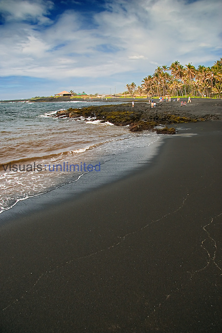 Punalu`u Black Sand Beach, Big Island, Hawaii, Pacific Ocean