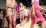 Models walks the runway during the Diane Von Furstenberg presentation at New York Fashion Week in New York, Sunday, September 13, 2015. AFP PHOTO/TREVOR COLLENS