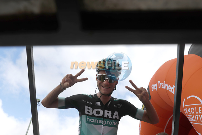 Felix Grossschartner (AUT) Bora-Hansgrohe at sign on before Stage 15 of La Vuelta 2019  running 154.4km from Tineo to Santuario del Acebo, Spain. 8th September 2019.<br /> Picture: Luis Angel Gomez/Photogomezsport | Cyclefile<br /> <br /> All photos usage must carry mandatory copyright credit (© Cyclefile | Luis Angel Gomez/Photogomezsport)