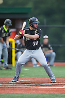 Michael McClellan (12) of the Gastonia Grizzlies at bat against the Asheboro Copperheads at McCrary Park on June 1, 2015 in Asheboro, North Carolina.  The Copperheads defeated the Grizzlies 11-6. (Brian Westerholt/Four Seam Images)