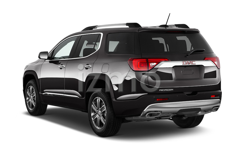 Car pictures of rear three quarter view of 2018 GMC Acadia Denali 5 Door SUV Angular Rear