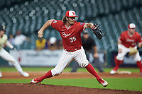 Houston Cougars relief pitcher Kyle Ott (35) in action against the Vanderbilt Commodores during game nine of the 2018 Shriners Hospitals for Children College Classic at Minute Maid Park on March 3, 2018 in Houston, Texas. The Commodores defeated the Cougars 9-4. (Brian Westerholt/Four Seam Images)