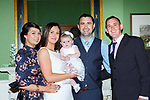 Penny Palmer Killarney celebrated her christening with her parents Linda and Patrick Palmer and her god parents Jennifer Lenihan and Sean Palmer in the Dromhall Hotel Killarney on Saturday
