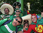 11 June 2006: Mexico fans at a beergarden outside the stadium. Mexico played Iran at the Frankenstadion in Nuremberg, Germany in match 7, a Group D first round game, of the 2006 FIFA World Cup.