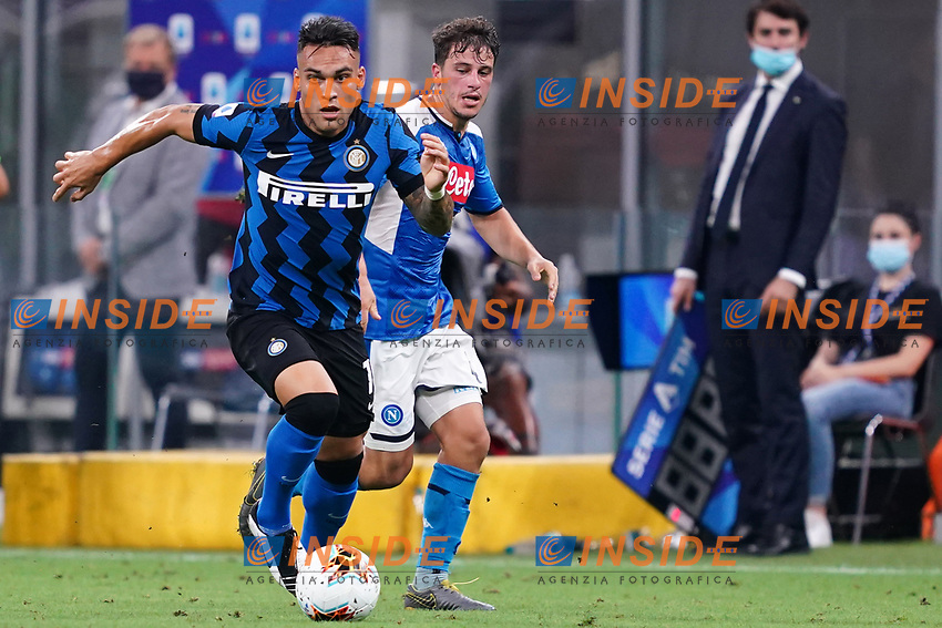 Lautaro Martinez of FC Internazionale in action during the Serie A football match between FC Internazionale and SSC Napoli at San Siro stadium in Milano (Italy), July 28th, 2020. Play resumes behind closed doors following the outbreak of the coronavirus disease. Photo Marco Canoniero / Insidefoto