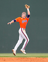 May 11, 2009: Shortstop Brad Miller (13) of the Clemson Tigers catches a popup in a game against the Furman Paladins at Fluor Field at the West End in Greenville, S.C. Photo by: Tom Priddy/Four Seam Images