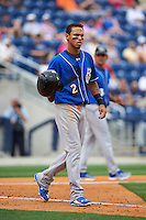 Biloxi Shuckers shortstop Orlando Arcia (2) walks to first after getting hit by a pitch during the first game of a double header against the Pensacola Blue Wahoos on April 26, 2015 at Pensacola Bayfront Stadium in Pensacola, Florida.  Biloxi defeated Pensacola 2-1.  (Mike Janes/Four Seam Images)