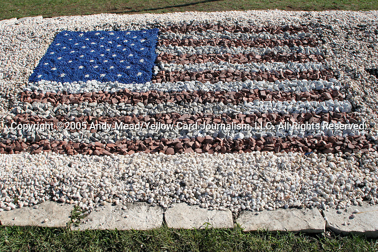 The flag of the United States of America is laid out in a rock garden outside of Columbus Crew Stadium in honor of the FIFA 2006 World Cup Qualifier scheduled to take place between the United States and Mexico on Saturday, September 3rd. Photo taken on Friday, September 2nd, 2005, outside Columbus Crew Stadium in Columbus, Ohio.