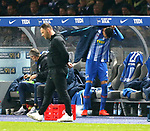 16.03.2019, OLympiastadion, Berlin, GER, DFL, 1.FBL, Hertha BSC VS. Borussia Dortmund, <br /> DFL  regulations prohibit any use of photographs as image sequences and/or quasi-video<br /> <br /> im Bild Cheftrainer (Head Coach) Pal Dardai (Hertha BSC Berlin), Davie Selke (Hertha BSC Berlin #27), Spielerbank<br /> <br />       <br /> Foto © nordphoto / Engler