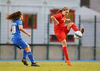 20191221 - WOLUWE: Woluwe's Morgane Wijns in action during the Belgian Women's National Division 1 match between FC Femina WS Woluwe A and KAA Gent B on 21st December 2019 at State Fallon, Woluwe, Belgium. PHOTO: SPORTPIX.BE | SEVIL OKTEM