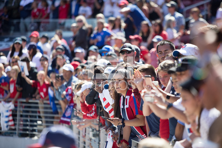 Santa Clara, CA - Sunday May 12, 2019: Fans cheer after the women's national teams of the United States (USA) during their game against South Africa (RSA) play in an international friendly match at Levi's Stadium.
