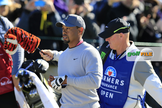 Tiger Woods (USA) walks off the 13th tee during Friday's Round 2 of the 2017 Farmers Insurance Open held at Torrey Pines Golf Course, La Jolla, San Diego, California, USA.<br /> 27th January 2017.<br /> Picture: Eoin Clarke | Golffile<br /> <br /> <br /> All photos usage must carry mandatory copyright credit (&copy; Golffile | Eoin Clarke)