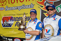 Jun. 2, 2013; Englishtown, NJ, USA: NHRA pro mod driver Mike Janis celebrates with crew after winning the Summer Nationals at Raceway Park. Mandatory Credit: Mark J. Rebilas-