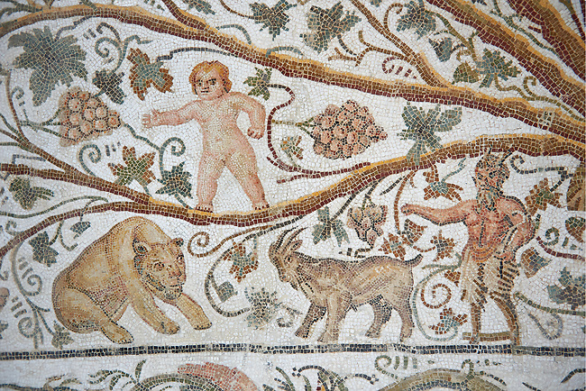 Detail of a Roman mosaics design depicting Silenus and Cupids showing Pan and a goat and a cupid in the vines, from the House of Sienus, ancient Roman city of Thysdrus. 3rd century AD. El Djem Archaeological Museum, El Djem, Tunisia.