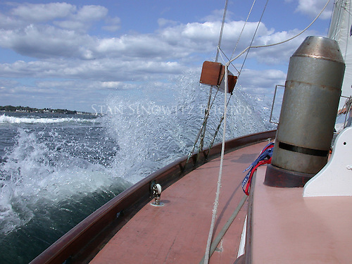This is what happens when a motorboat makes big waves........a big splash!