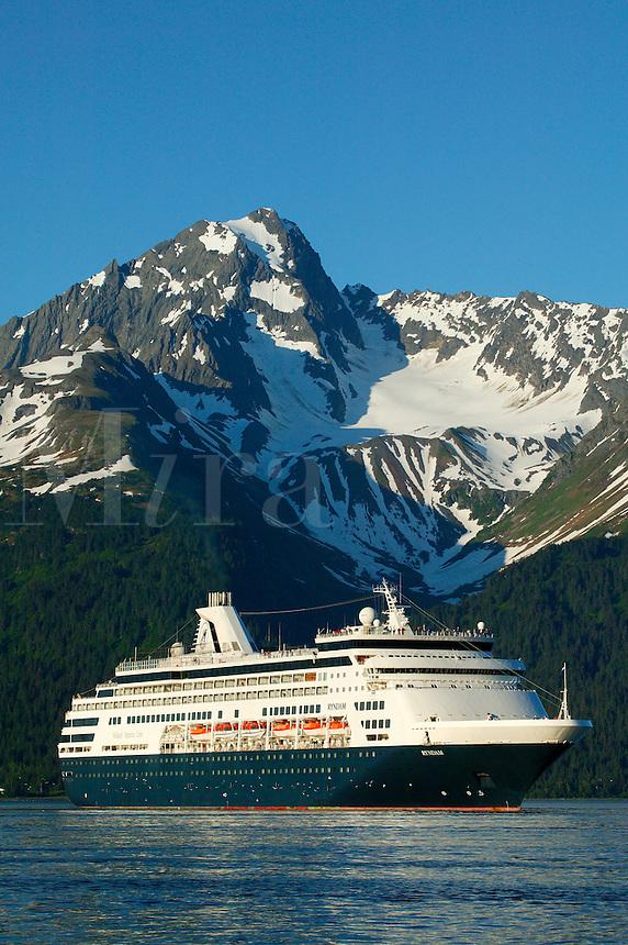 The Holland American Cruiseship Ryndam in Resurrection Bay in Seward, Alaska
