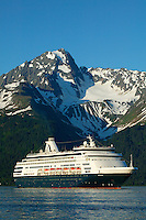 The Holland American Cruiseship Ryndam in Resurrection Bay in Seward, Alaska