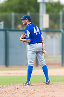Team Italy relief pitcher Claudio Scotti (44) looks in for the sign during an exhibition game against the Oakland Athletics at Lew Wolff Training Complex on October 3, 2018 in Mesa, Arizona. (Zachary Lucy/Four Seam Images)