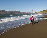 San Francisco: Baker Beach with Golden Gate Bridge in background.  Photo # 2-casanf76335.  Photo copyright Lee Foster