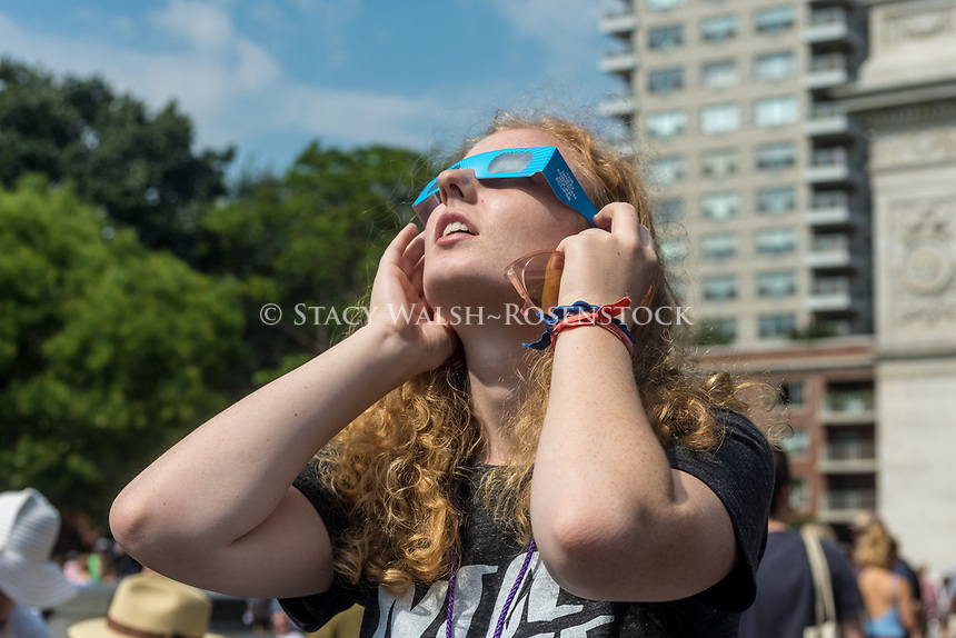 New York, NY 21 August 2017 - New Yorkers gathered in Washington Square to see a partial solar eclipse. ©Stacy Walsh Rosenstock
