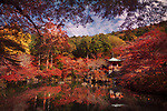 Beautiful reflective pond in front of Bentendo Hall in a colorful autumn scenery at Daigo-ji temple, Shimo-Daigo part of Daigoji complex in Fushimi-ku, Kyoto, Japan 2017.