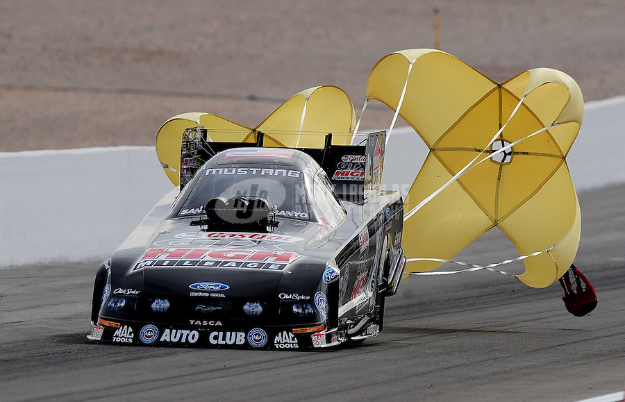 Nov. 1, 2008; Las Vegas, NV, USA: NHRA funny car driver John Force during qualifying for the Las Vegas Nationals at The Strip in Las Vegas. Mandatory Credit: Mark J. Rebilas-