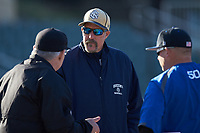 Queens Royals head coach Jack McDowell meets with Barton Bulldogs head coach Jim Chester and home plate umpire Chris Hammett prior to the game at Intimidators Stadium on March 19, 2019 in Kannapolis, North Carolina. The Royals defeated the Bulldogs 6-5. (Brian Westerholt/Four Seam Images)