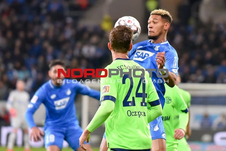 01.12.2018, wirsol Rhein-Neckar-Arena, Sinsheim, GER, 1 FBL, TSG 1899 Hoffenheim vs FC Schalke 04, <br /> <br /> DFL REGULATIONS PROHIBIT ANY USE OF PHOTOGRAPHS AS IMAGE SEQUENCES AND/OR QUASI-VIDEO.<br /> <br /> im Bild: Joelinton (TSG Hoffenheim #34) gegen Bastian Oczipka (FC Schalke 04 #24)<br /> <br /> Foto © nordphoto / Fabisch
