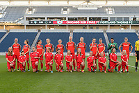 Bridgeview, IL - Saturday August 12, 2017: Portland Thorns FC Starting XI, player escorts during a regular season National Women's Soccer League (NWSL) match between the Chicago Red Stars and the Portland Thorns FC at Toyota Park. Portland won 3-2.