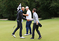 Christian Aronsen (NOR), Jack Senior (ENG) and Joel Girrbach (SUI) on the 18th green during Round 1 of the Bridgestone Challenge 2017 at the Luton Hoo Hotel Golf &amp; Spa, Luton, Bedfordshire, England. 07/09/2017<br /> Picture: Golffile   Thos Caffrey<br /> <br /> <br /> All photo usage must carry mandatory copyright credit     (&copy; Golffile   Thos Caffrey)