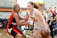 Monroe's Sydney Hilliard pushes past Milton's Shelby Mack-Honold, as Monroe tops Milton 62-51 in Wisconsin WIAA Division 2 girls basketball sectional playoffs on Saturday, 3/2/19, at Oregon High School | Wisconsin State Journal article 3/3/19 page B4 Sports and online at https://madison.com/wsj/sports/high-school/basketball/girls/wiaa-girls-basketball-sydney-hilliard-leads-monroe-to-another-state/article_1ad0b4a5-072c-53d9-bc10-323723174626.html