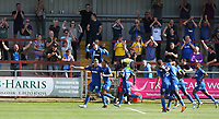 Wimbledon's Joe Pigott celebrates scoring the only goal of the game with team-mate Will Nightingale<br /> <br /> Photographer Stephen White/CameraSport<br /> <br /> The EFL Sky Bet League One - Fleetwood Town v AFC Wimbledon - Saturday 4th August 2018 - Highbury Stadium - Fleetwood<br /> <br /> World Copyright &copy; 2018 CameraSport. All rights reserved. 43 Linden Ave. Countesthorpe. Leicester. England. LE8 5PG - Tel: +44 (0) 116 277 4147 - admin@camerasport.com - www.camerasport.com