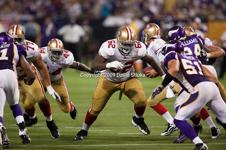 San Francisco 49ers offensive lineman Chilo Rachal (62) during an NFL football game against the Minnesota Vikings at the Hubert H. Humphrey Metrodome on September 27, 2009 in Minneapolis, Minnesota. The Vikings won 27-24. (AP Photo/David Stluka)