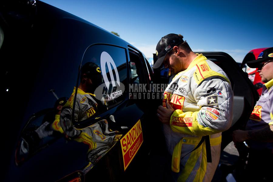 Feb 25, 2017; Chandler, AZ, USA; NHRA funny car driver Matt Hagan during qualifying for the Arizona Nationals at Wild Horse Pass Motorsports Park. Mandatory Credit: Jason Zindroski