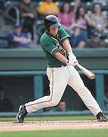 Catcher Jacob Realmuto (11) of the Greensboro Grasshoppers, Class A affiliate of the Florida Marlins, in a game against the Greenville Drive on April 26, 2011, at Fluor Field at the West End in Greenville, South Carolina. (Tom Priddy/Four Seam Images)