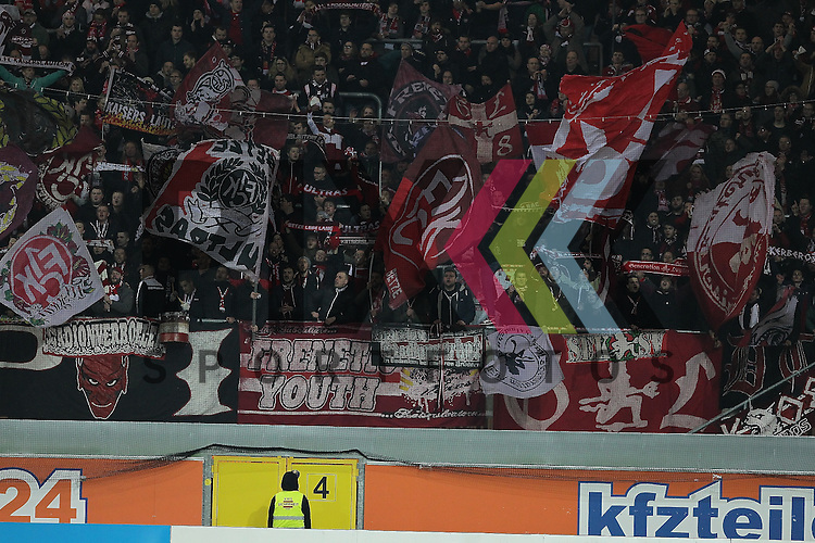 Die mitgereisten Fans des 1. FC Kaiserslautern  beim Spiel in der 2. Bundesliga SC Paderborn - 1. FC Kaiserslautern.<br /> <br /> Foto &copy; PIX-Sportfotos *** Foto ist honorarpflichtig! *** Auf Anfrage in hoeherer Qualitaet/Aufloesung. Belegexemplar erbeten. Veroeffentlichung ausschliesslich fuer journalistisch-publizistische Zwecke. For editorial use only.