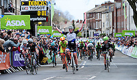 Picture by Simon Wilkinson/SWpix.com - 30/04/2016 - Cycling - 2016 Asda Women's Tour de Yorkshire: Otley to Doncaster - Yorkshire, England - Kirsten Wild of Hitec Products celebrates victory.