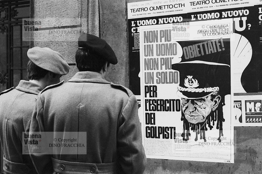 - propaganda for the conscientious objection to military service (Milan, 1974)<br />