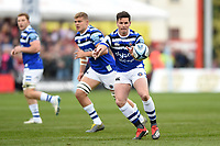 Freddie Burns of Bath Rugby receives the ball. Gallagher Premiership match, between Gloucester Rugby and Bath Rugby on April 13, 2019 at Kingsholm Stadium in Gloucester, England. Photo by: Patrick Khachfe / Onside Images