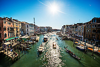 View of Venetian canal from Rialto Bridge, Venice, Italy