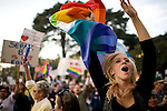 SACRAMENTO, CA - NOVEMBER 22:  Harlee Demeerleer cheers in support of gay marriage on the steps of the State Capitol in Sacramento, California November 22, 2008. People across the country continue to protest the passing of California State Proposition 8 which makes gay marriage in California illegal. (Photo by Max Whittaker/Getty Images)