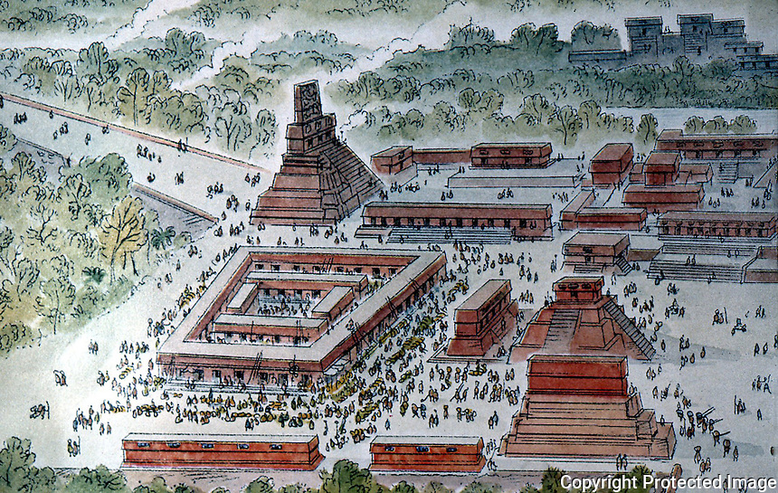 "World Civilization:  Mayan Culture--Tikal, 8th C. A.D., ""an immense city...50 sq. miles. Central Market, east of main complex"" Paintings  by Peter Spier.  NATIONAL GEORGRAPHIC Dec. 1975."
