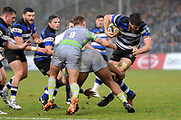 Josh Bayliss of Bath Rugby takes on the Newcastle Falcons defence. Anglo-Welsh Cup match, between Bath Rugby and Newcastle Falcons on January 27, 2018 at the Recreation Ground in Bath, England. Photo by: Patrick Khachfe / Onside Images