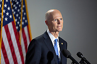 United States Senator Rick Scott (Republican of Florida) speaks to members of the media as he arrives to GOP policy luncheons on Capitol Hill in Washington D.C., U.S., on Tuesday, June 9, 2020.  Credit: Stefani Reynolds / CNP/AdMedia