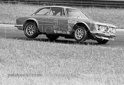 "Horst Kwech ""bicycles"" his Alfa Romeo during U2 Trans-Am race at Mid-Ohio 1971"