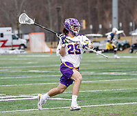University at Albany Men's Lacrosse defeats Drexel 18-5 on Feb. 24 at Casey Stadium.  Stone Sims (#25). (Photo by Bruce Dudek / Cal Sport Media/Eclipse Sportswire)
