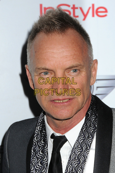 Sting (Gordon Sumner).Warner Music Group 2013 Grammy Celebration held at The Chateau Marmont, West Hollywood, California, USA..February 10th, 2013.headshot portrait black grey gray shirt white pattern scarf   .CAP/ADM/BP.©Byron Purvis/AdMedia/Capital Pictures.
