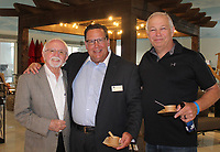 NWA Democrat-Gazette/CARIN SCHOPPMEYER Dick Trammel (from left), David Faulkner and Jim Majors help support the Rogers Public Library Foundation on June 7.