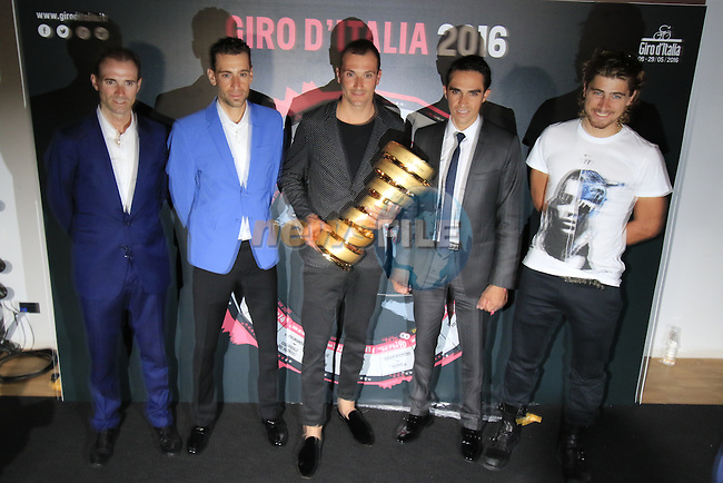 UCI leading points rider Alejandro Valverde (ESP), Vincenzo Nibali (ITA), Ivan Basso (ITA), defending Giro Champion Alberto Contador (ESP) and newly crowned World Champion Peter Sagan (SVK)  at the Giro d'Italia 2016 Presentation held at Expo Milano, Milan, Italy. 5th October 2015.<br /> Picture: Eoin Clarke | Newsfile